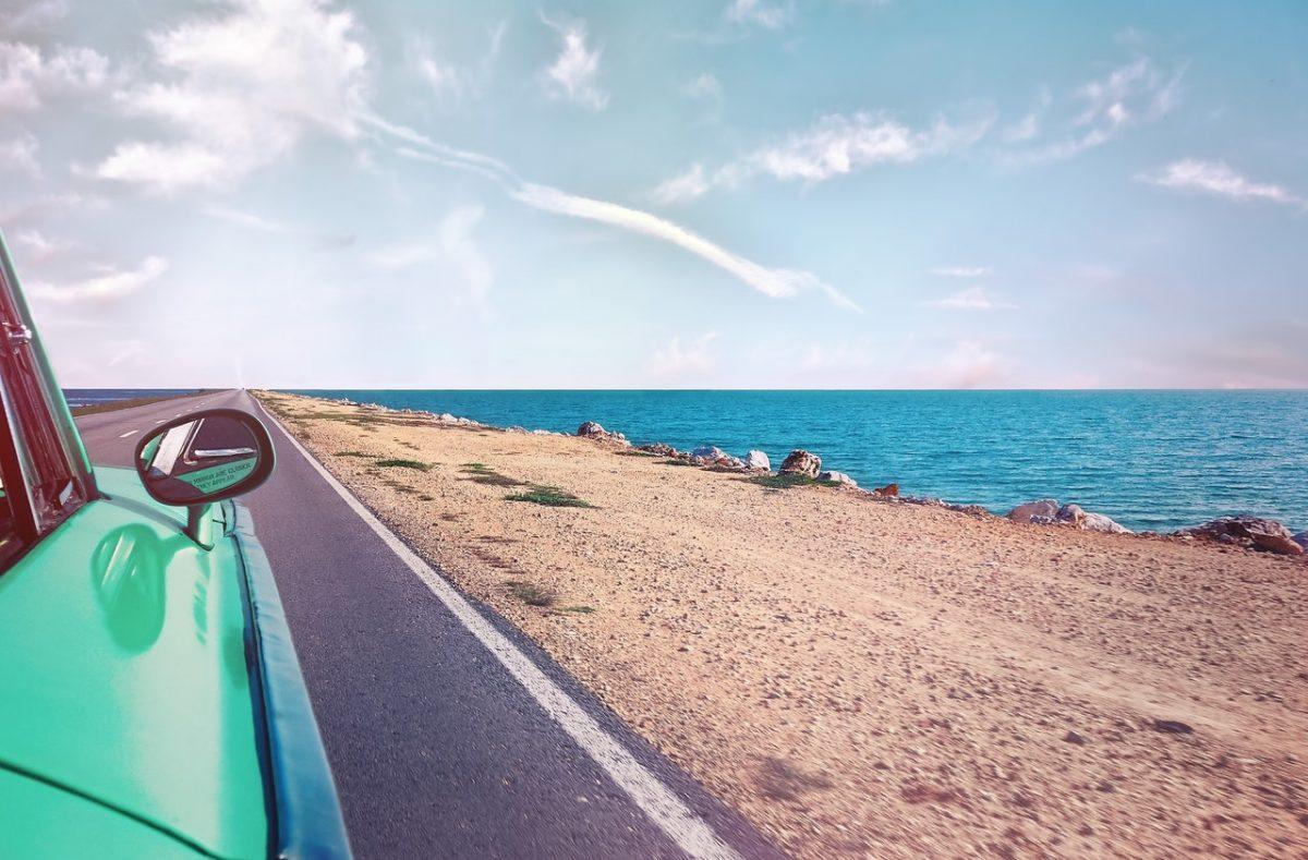 summer, road, ocean